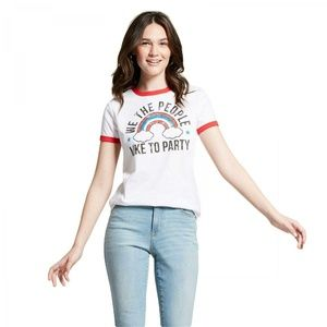 NWT Modern Lux Party Ringer T-Shirt XXL White